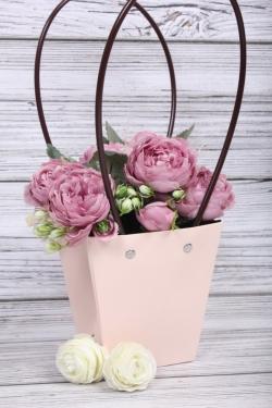 Сумка для цветов 12*8*12,5 светло-розовый влагостойкая  М14