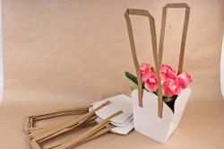 Сумка для цветов белая (10шт в уп) W102