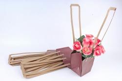 Сумка для цветов бордо  (10шт в уп) W101