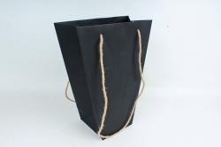 Сумка для цветов КРАФТ трапеция черная  (12ш /уп) Цена за 1шт   FВ13/26/35