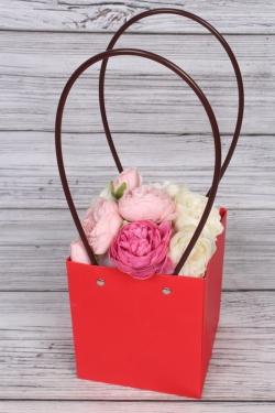 Сумка для цветов 13*15*11,5  красная  влагостойкая М12
