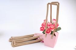 Сумка для цветов розовая   (10шт в уп) W101