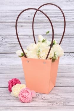 Сумка для цветов 13*9,5*15,5см персик влагостойкая М15