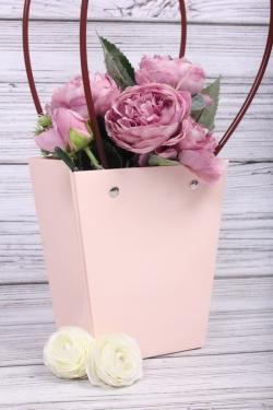 Сумка для цветов 13*9,5*15,5см светло розовая влагостойкая М15