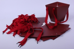 Сумка для цветов Трапеция 13x13 h=15см Бордо (12шт в уп)  цена за уп