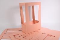 Сумка-корзинка прямоугольная для цветов - розовая (10шт в уп.) (цена за 1шт)