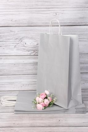 Сумка крафт бум.ручка  31*42*12 СЕРЕБРО (12 шт/уп) Цена за упаковку 10405-Сер-XL
