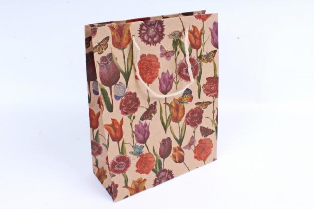 "Сумка КРАФТ ""Цветы и Бабочки"" ассорт.   (цена за 1 шт) 10409-30N"