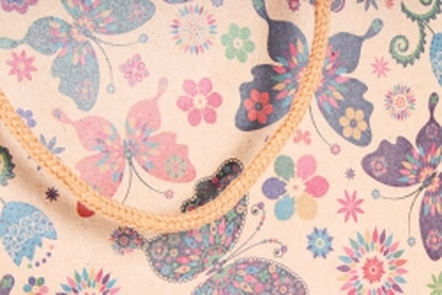 "Сумка КРАФТ ""Цветы и Бабочки"" ассорт.    (12 шт/уп) (цена за 1 шт) 10409-80N"