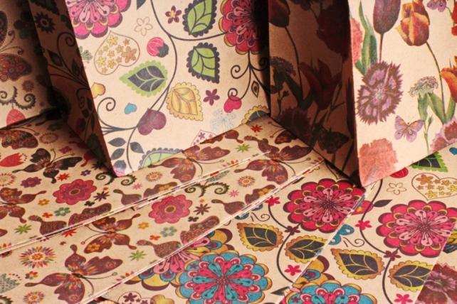 "Сумка КРАФТ ""Цветы и Бабочки"" ассорт.    (12 шт/уп) (цена за 1 шт) 10409-81N"