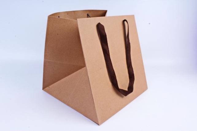 Сумка КРАФТ Квадрат с коричневыми ручками  (12шт/уп) Цена за 1шт L66