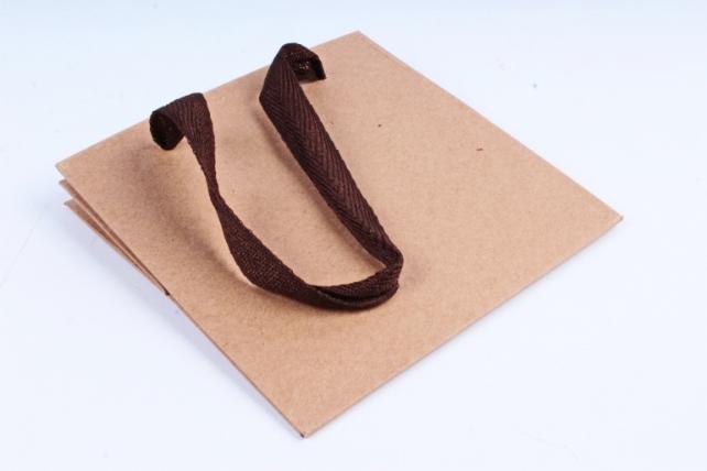 Сумка КРАФТ Квадрат с коричневыми ручками  (12шт/уп) Цена за 1шт L63