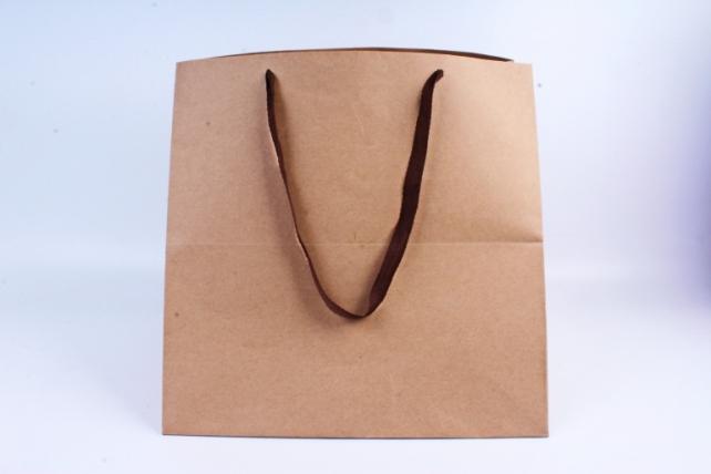 Сумка КРАФТ Квадрат с коричневыми ручками  (12шт/уп) Цена за 1шт L65