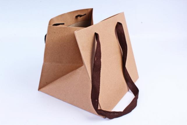 Сумка КРАФТ Квадрат с коричневыми ручками (12шт/уп) Цена за 1шт L68