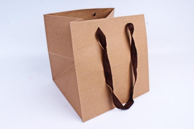 Сумка КРАФТ Квадрат с коричневыми ручками  (12шт/уп) Цена за 1шт L62