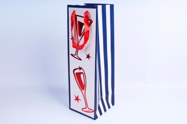 Сумка Люкс Бутылка с тиснением сине/белая  12 шт/уп (Цена за1шт) L39