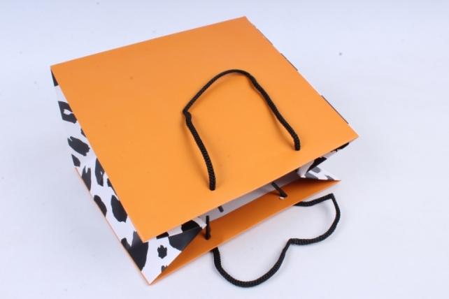 Сумка Люкс Черно-белые пятна на оранжевом   12шт/уп  L91 Цена за 1 шт
