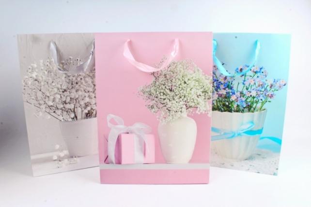 Сумка Люкс Цветы в вазе   (12шт в уп) Цена за 1шт 754L