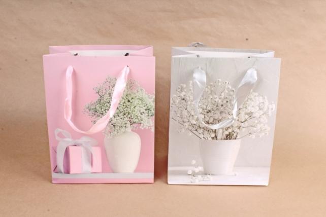 Сумка Люкс Цветы в вазе     (12шт в уп) Цена за 1шт 754S
