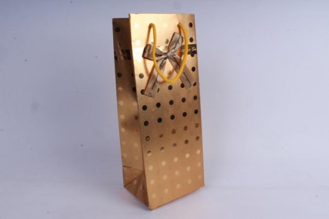 Сумка Люкс Горох под Бутылку  (14*36*11) золотая (12шт/уп) L303   Цена за 1шт