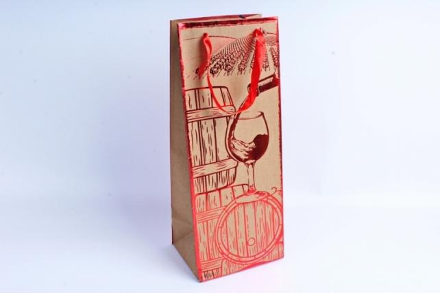 Сумка Люкс Крафт Бутылка с тиснением металл красный  12 шт/уп (Цена за1шт)