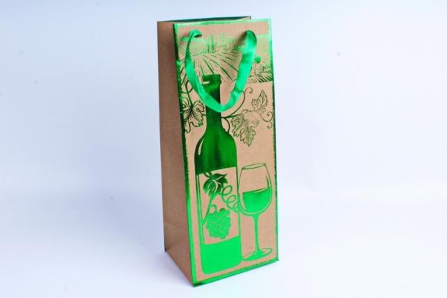 Сумка Люкс Крафт Бутылка с тиснением металл зеленый 12 шт/уп (Цена за1шт)