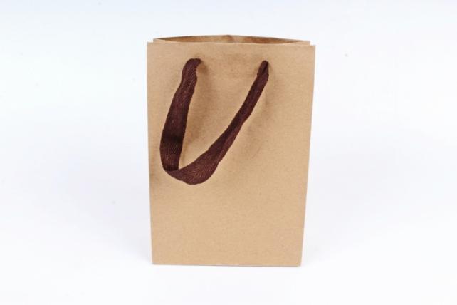 Сумка Люкс Крафт с коричневой ручкой (20шт в уп) Цена за 1шт L146
