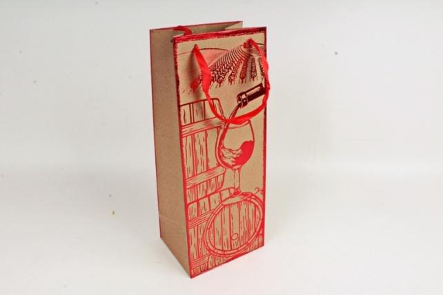 Сумка Люкс Крафт с тиснением Под Бутылку  красная L38 Цена за 1шт