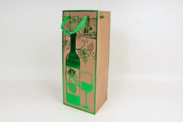 Сумка Люкс Крафт с тиснением Под Бутылку  зеленая  L38 Цена за 1шт
