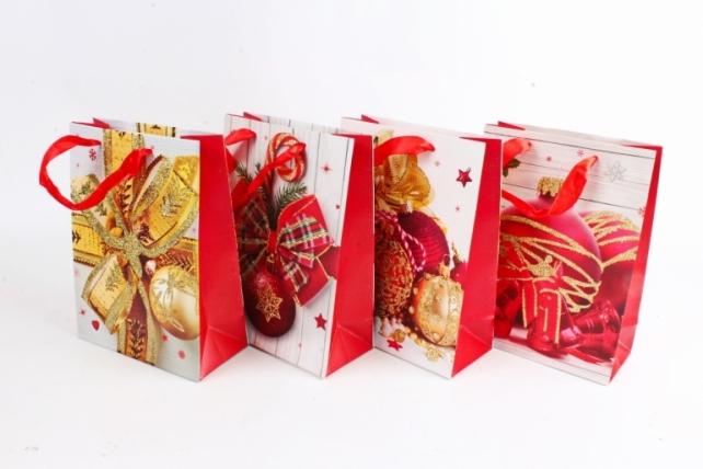 Сумка Люкс НГ Игрушки красные с золотом  микс (12шт в уп) Цена за 1шт N513