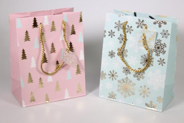 Подарочные пакеты - Сумка Люкс  Новый Год с золотым тиснением (20 шт/уп) N414 Цена за 1шт
