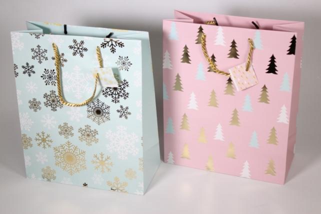 Подарочные пакеты - Сумка Люкс  Новый Год с золотым тиснением (26*32*12)  (20шт/уп) N413 Цена за 1шт