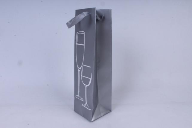Сумка Люкс с тиснением под Бутылку  (10*36*10)  серебро (12шт/уп) L0035   Цена за 1шт