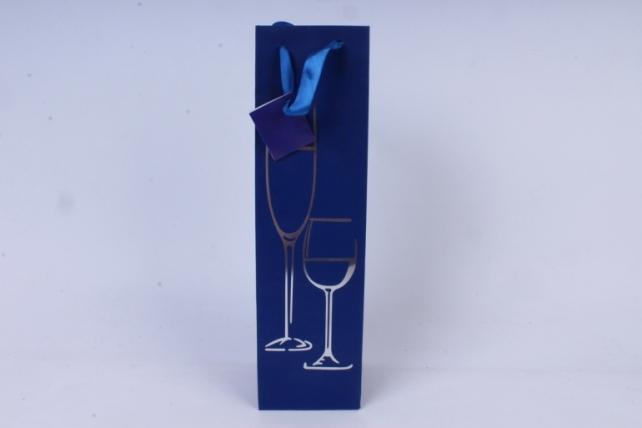 Сумка Люкс с тиснением под Бутылку  (10*36*10)  синяя (12шт/уп) L0035   Цена за 1шт