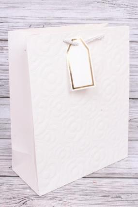 Сумка Люкс Тиснение Цветы белый 26*36*12  (12шт в уп) Цена за 1шт L702