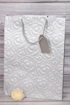 Сумка Люкс Тиснение Цветы серебро 44*31*12  (12шт в уп) Цена за 1шт L701