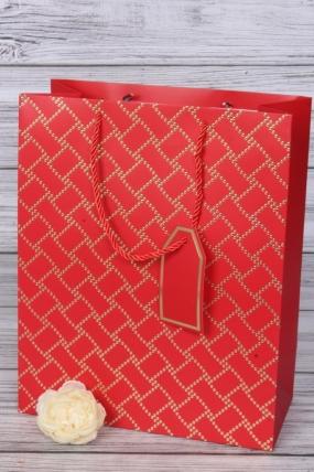 Сумка Люкс Золотой узор 26*32*12см красный L211  Цена за 1шт
