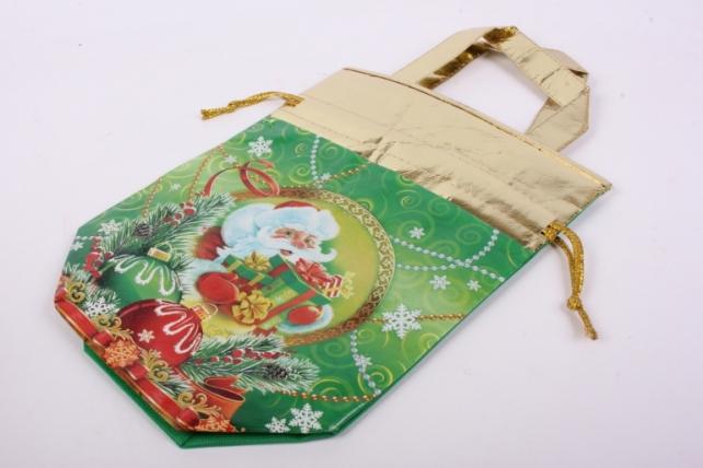 Сумка-мешочек Новый Год с ручками текстиль на 1,3кг ВОЛШЕБНАЯ, Зеленая NW-018