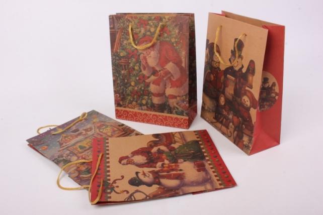 Подарочные пакеты - Сумка НГ КРАФТ ассорти 19*25*8  (12 шт/уп)  10409-24