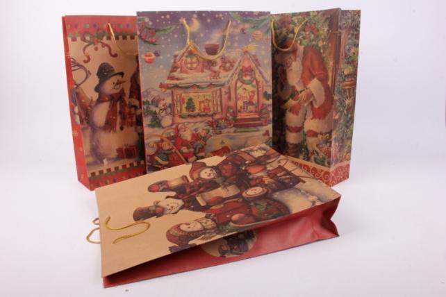 Подарочные пакеты - Сумка НГ КРАФТ ассорти 31,5*41,5*9  (12 шт/уп)  10409-27