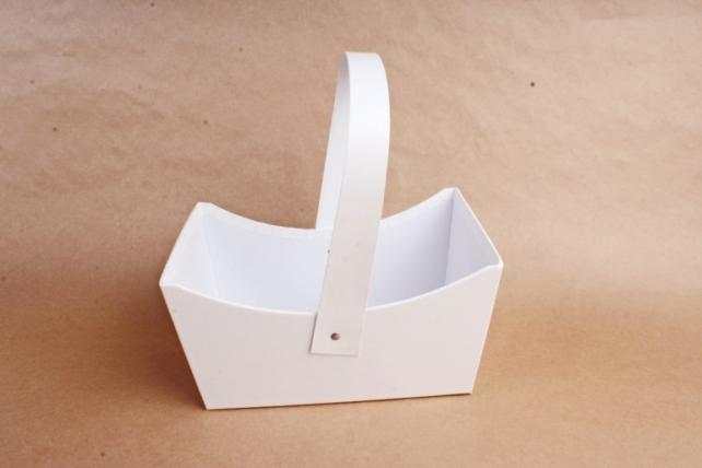 Сумка под цветы, картон, белый (W9633)  2984