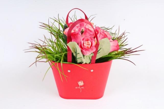 Сумка под цветы с двумя ручками, картон, красный (W9627-red) 9470М