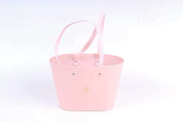 Сумка под цветы с двумя ручками, картон, 22,5x13,5x15,2 см, розовый (W9627) 9073М