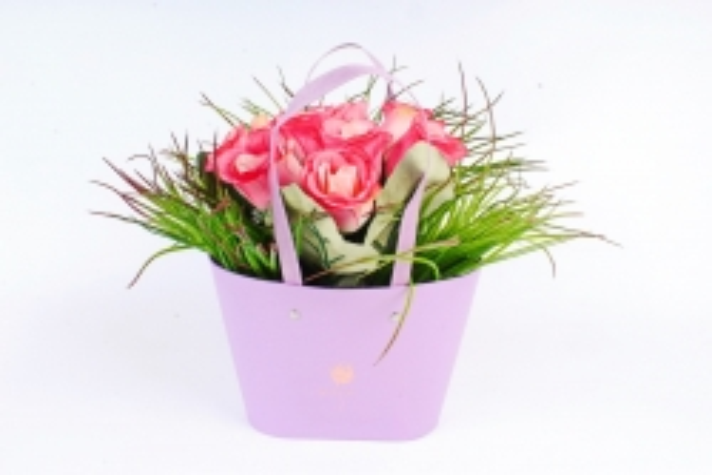 Сумка под цветы с двумя ручками, картон,   сиреневый (W9627-lilac) 9456М