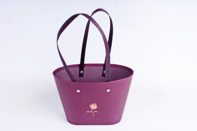 Сумка под цветы с двумя ручками, картон,  сливовый (W9627-plum) 9463