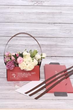 """Сумка-Коробка для цветов (4шт/уп)""""Трансформер 2 в 1"""", крафт, 23x12x12 см, красный / черный  3309М"""