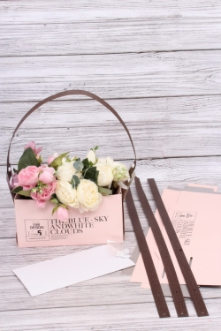 """Сумка-Коробка для цветов (4шт/уп)  """"Трансформер 2 в 1"""", крафт, 23x12x12 см, розовый / серый 3293М"""