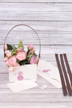"Сумка-Коробка-трансформер для цветов (4шт/уп) ""С 8 марта"", крафт, 15x10x10,5 см, белый / бурый 6430М"