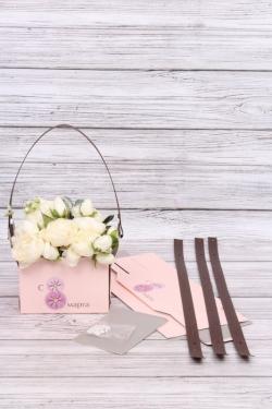 """Сумка-Коробка-трансформер для цветов (4шт/уп) """"С 8 марта"""", крафт, 15x10x10,5 см, розовый/серый 6454М"""