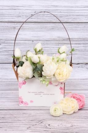 "Сумка-Коробка-трансформер для цветов  (4шт/уп) ""Шарм"", крафт, 15x10x10,5 см, белый / бурый 6461М"